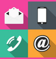 set icons communication on colored backgrounds vector image
