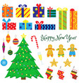set of christmas decorations vector image vector image