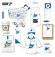 Set of corporate identity uniform flyer cart vector image vector image
