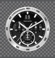 silver watch clock chronograph face luxury vector image