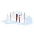 snowy landscape with winter scape and snowman vector image
