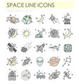 space line icons color set on white background for vector image