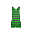 Striped retro swimsuit in green and black design vector image vector image