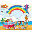 Summer theme with children and van vector image vector image