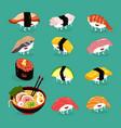 sushi ramen funny cute set vector image vector image