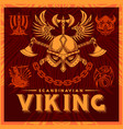 t-shirt print with viking emblems in vintage style vector image vector image