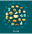 tea time round composition vector image vector image