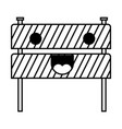 traffic fence flat icon monochrome kawaii vector image vector image