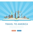 Travel to America poster with famous attractions vector image vector image