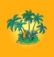 tropical island with an umbrella and a sun lounger vector image