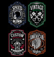 vintage motorcycle t-shirt graphic collection vector image