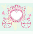 wedding carriage heart shaped decorated with roses vector image vector image
