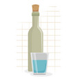 wine bottle with cup icon vector image vector image