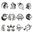 zodiac signs in line art vector image