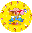 Boy eating sweets vector image