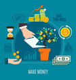 money flat colored composition vector image