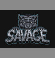 aggressive wolf holding savage inscription vector image