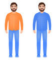 bearded man dressed in jeans shirt and sneakers vector image vector image