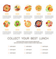 beautiful food dishes set vector image