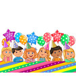 birthday bright banner cute kids vector image