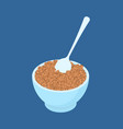 bowl of buckwheat and spoon isolated healthy food vector image vector image