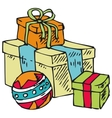 Boxes with gifts and ball vector image