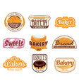 bread bakery food products pastry shop signs vector image
