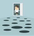 businesswoman open the door and looks at hole vector image vector image