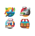 Buying food in supermarket vector image vector image
