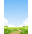 card with a simple landscape green meadows blue vector image