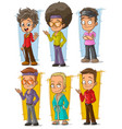 cartoon cool retro disco dancers character set vector image vector image