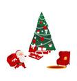 christmas elements - santa fir tree and armchair vector image vector image
