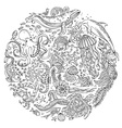 Circle set of doodles wild sealife vector image vector image
