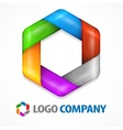 Color hexagon on white vector image