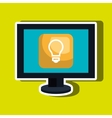 computer desktop with bulb isolated icon design vector image vector image