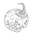 contour drawing of a creepy pumpkin vector image vector image
