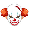 creepy clown face on white background vector image
