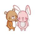 cute rabbit and bear animal cartoon isolated icon vector image vector image