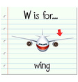 Flashcard letter W is for wing vector image vector image