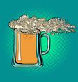 foam is like a wave on a beer glass mug pub vector image