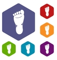 Foot left leg icons set vector image vector image