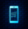 glowing neon online shopping concept shopping vector image vector image