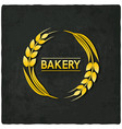 golden wheat bakery symbol black background vector image vector image