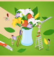 isometric people making bouquet of flowers vector image vector image