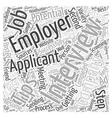 job interview tips dlvy nicheblowercom Word Cloud vector image vector image