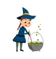 joyful little witch brewing potion in cauldron vector image vector image