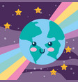 kawaii planet earth rainbow and stars vector image