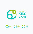 kids care logo circular concept protection child vector image