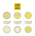 led light gx53 bulbs colorful icon set vector image vector image