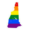 lgbt flag map of new hampshire rainbow map of new vector image